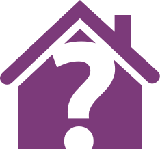 Purple house with a question mark